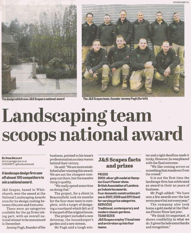 J&S Scapes Featured In The Bucks Herald After Winning Award